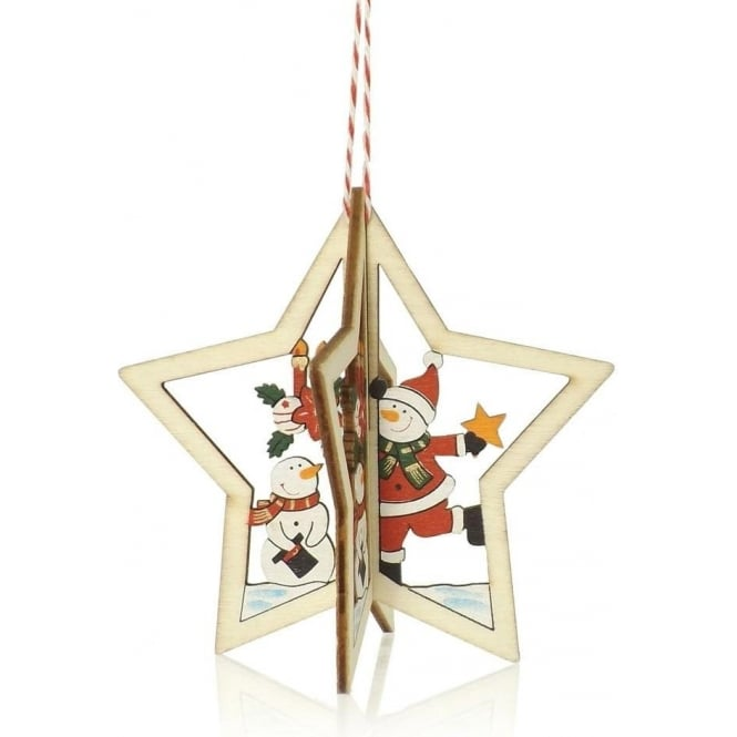 3D Wooden Snowman Star Tree Decoration
