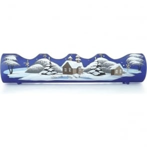 Blue Glass Winter Scene T-light Holder