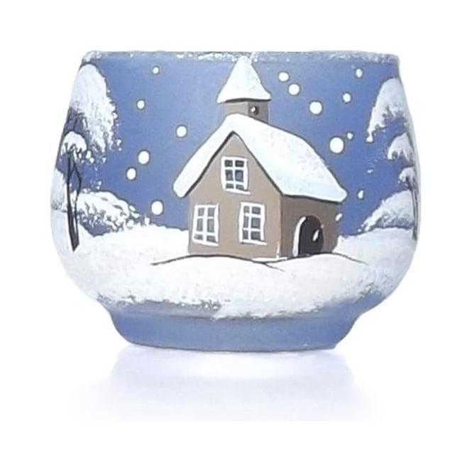 Blue Glass Winter Scene T-light Holder Small