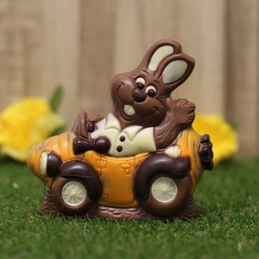Chocolate Bunny in Carrot Car