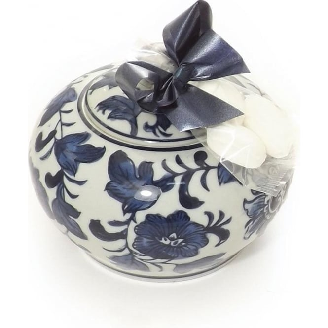 Friars Medium Blue Patterned Trinket Box