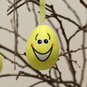 Smiley Easter Egg Decoration - Yellow