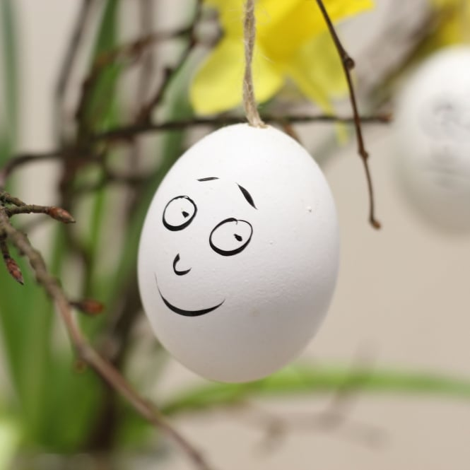 Smiley Easter Egg Decorations - White