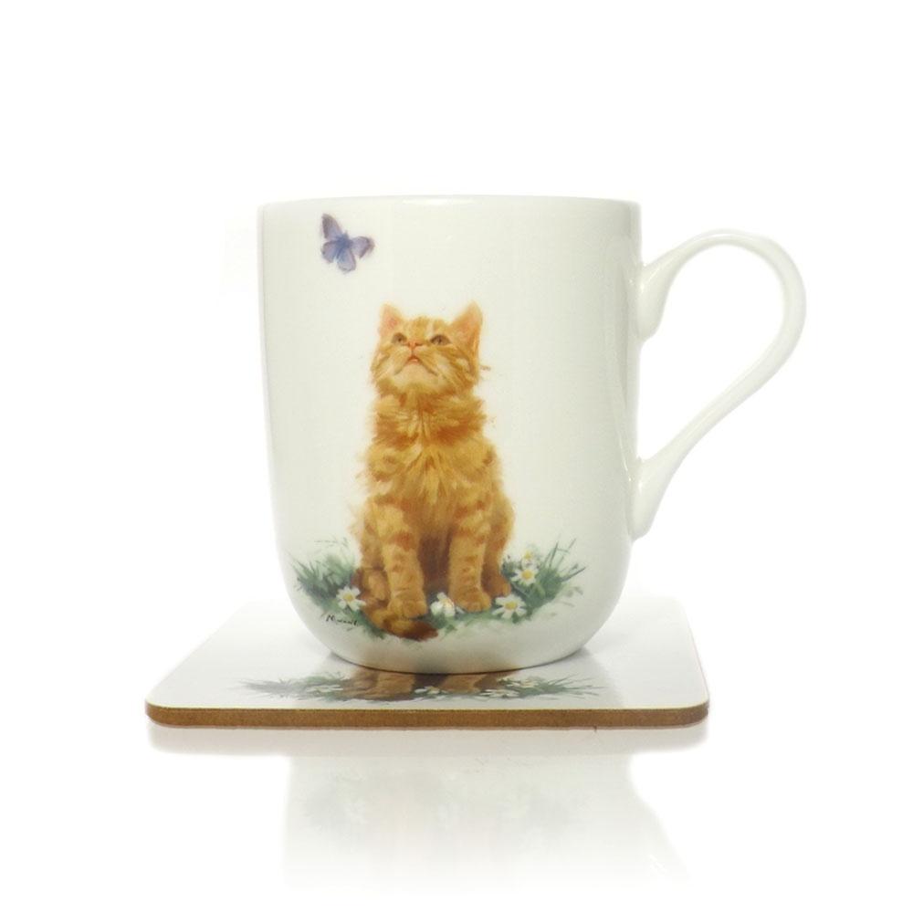 Ginger Tabby Cat Mug And Coaster Gift Set