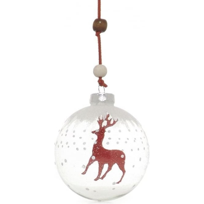 Glass Bauble With Red Felt Reindeer