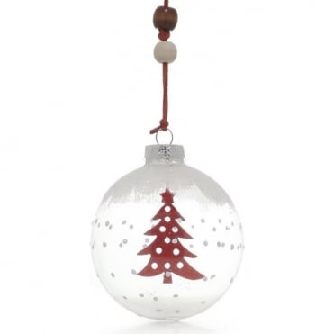 Glass Bauble With Red Felt Tree