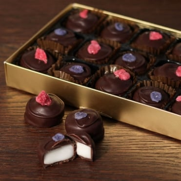 Hand Made Dark Chocolate Rose and Violet Creams - 15 Chocolates