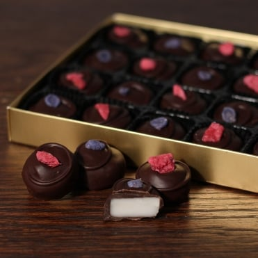 Hand Made Dark Chocolate Rose and Violet Creams - 24 Chocolates