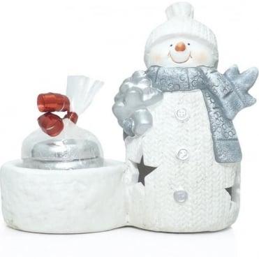 Knitted Snowman T-light Holder