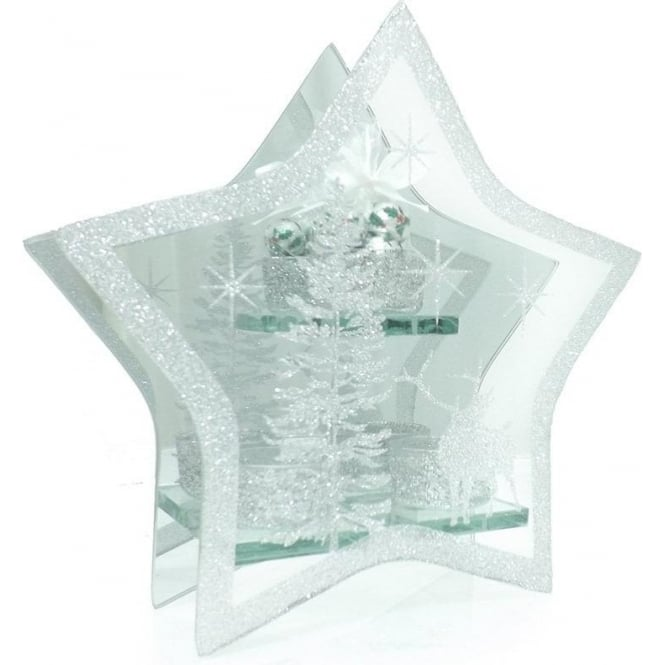 Large Glass Star T-light Holder