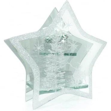 Large Glass Star T-light Holder