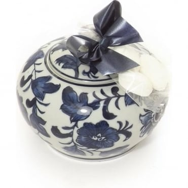 Medium Blue Patterned Trinket Box