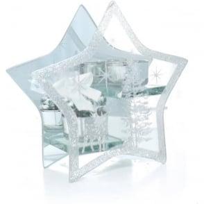 Medium Glass Star T-light Holder