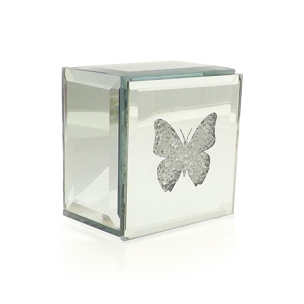 mirrored butterfly trinket box