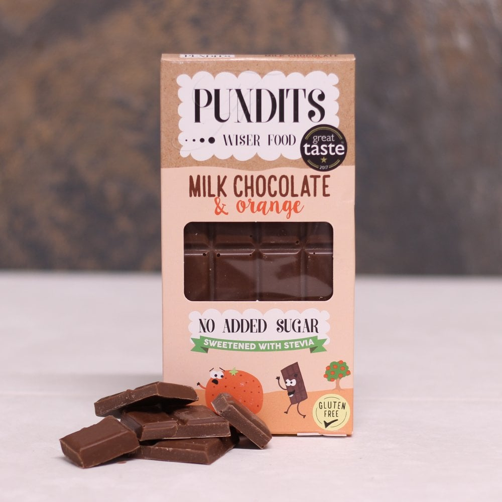 Pundits No Added Sugar Milk Chocolate And Orange Bar