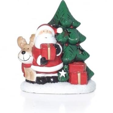 Santa & Rudolph T-light Holder