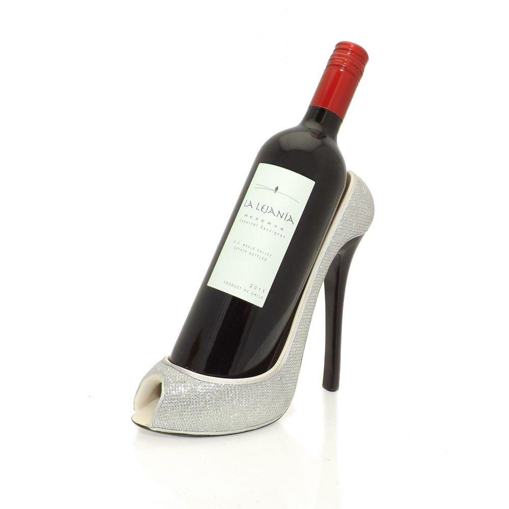 silver stiletto shoe wine bottle holder
