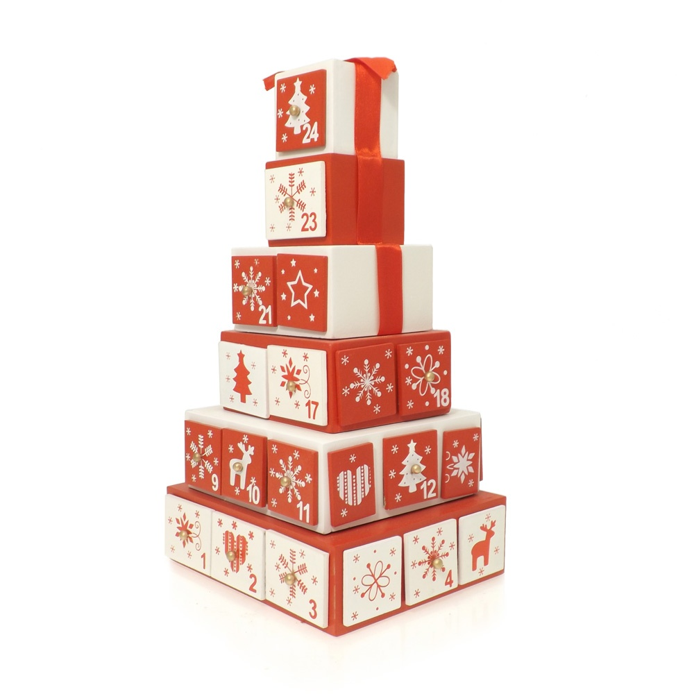 Buy wooden stack of presents advent calendar